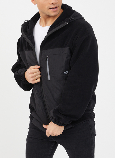 XHAN Siyah Polar Garnili Yağmurluk 1Kxe4-44460-02 Siyah